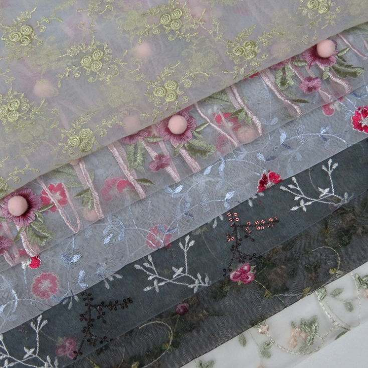 Polyester indian black lace fabrics organza lace embroidery fabric white beaded lace indian fabric