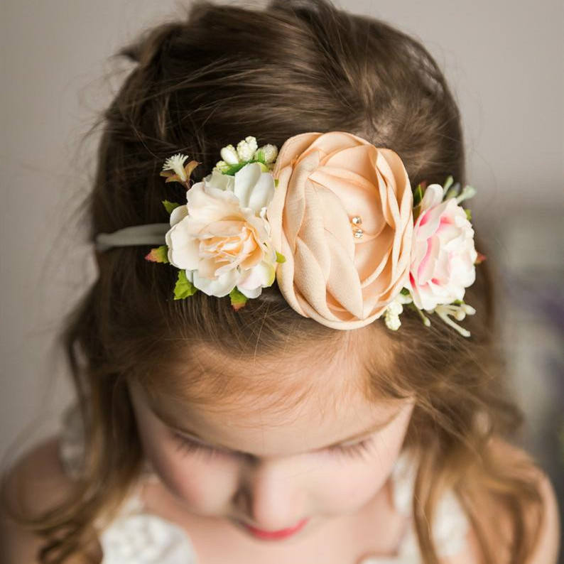 Nylon Headband Matching Satin Burn Flowers Vintage Style Hair Band Flower Crown headband For Infant