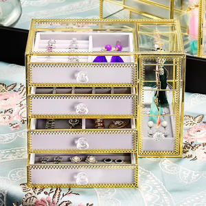 European Styles Metal Glass Jewelry Storage Box, Customized Large Capacity Earring s Nail Box