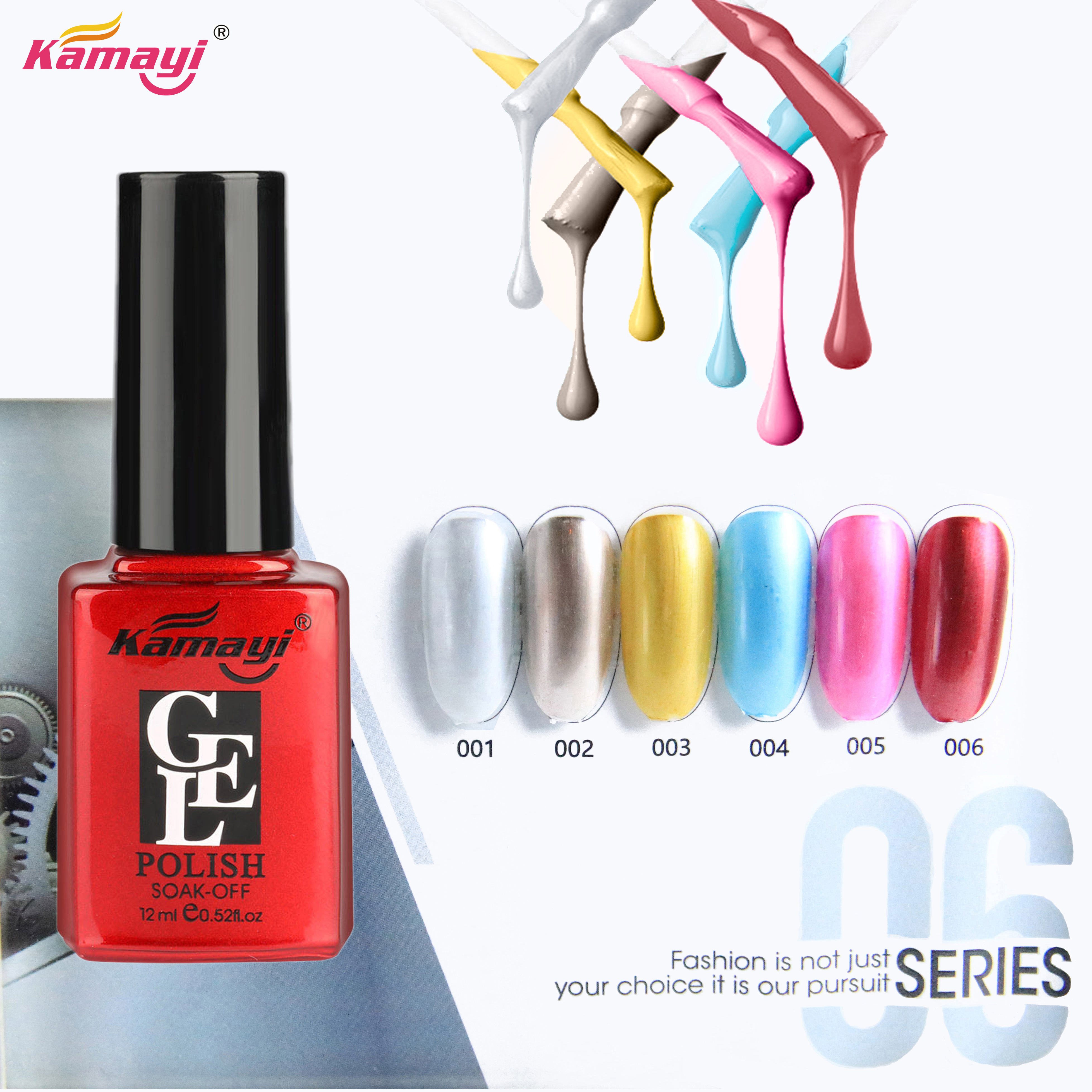 Kamayi Wholesale Factory Price New Arrival High Quality Nail lina UV Gel, 12ml red bottle mirror mental effect nail polish