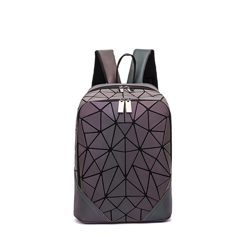 DIOMO Geometric Fashion Luminous Bagpack Irregular Triangle Sequin Backpacks Women Fashionable Rucksack Girls Backbag