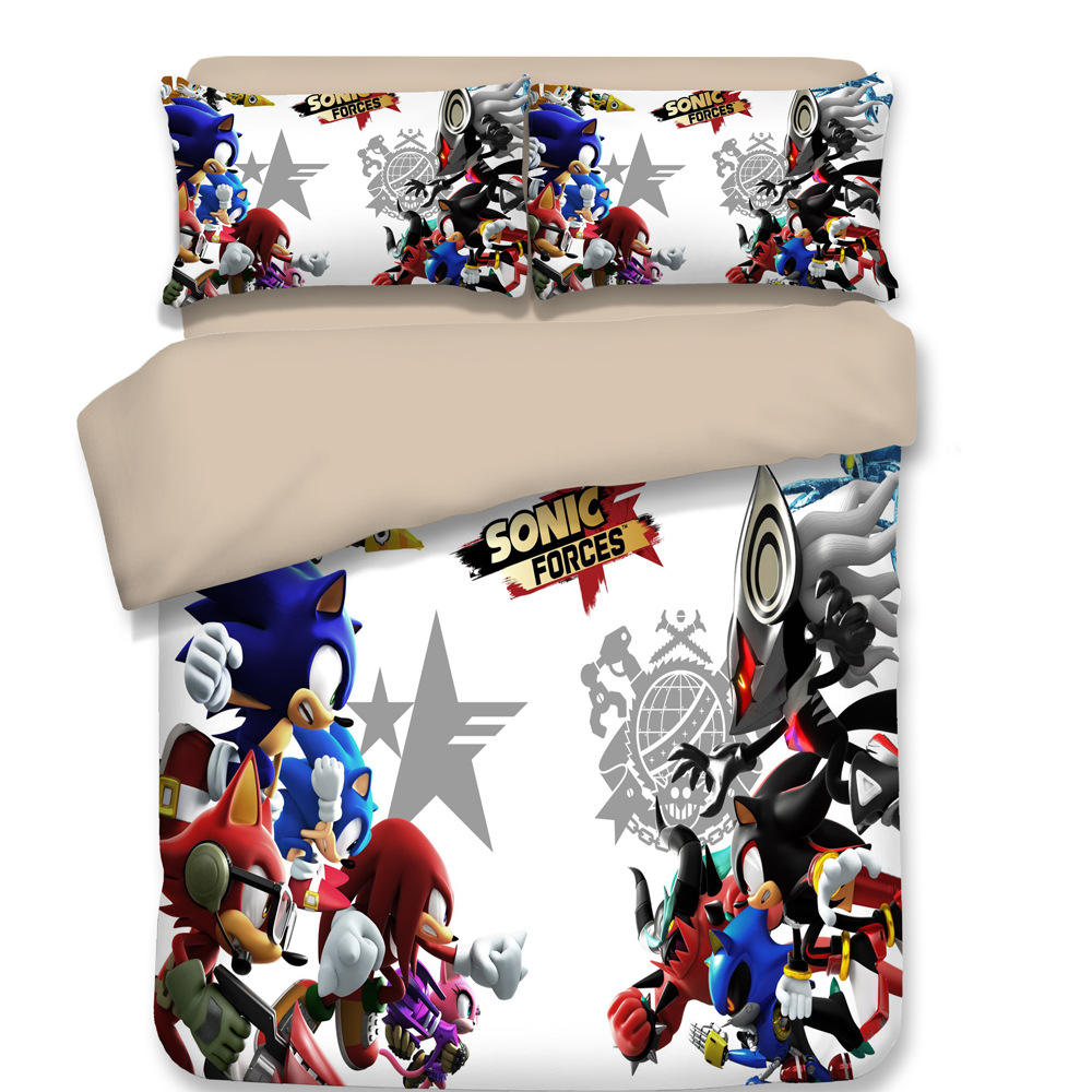 Manufacturer Online Games Sonic Boy Sonic Hedgehog Personalized Cartoon Brushed Print Set of 1.5m Bedding Four-piece Bedding Set