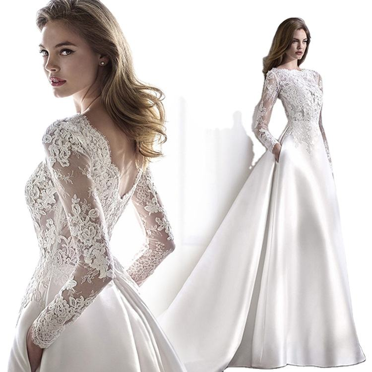 Wedding 2020 Autumn Satin Lace Slimming Fashion Bride Long Sleeve Halter Tail Wedding Dress