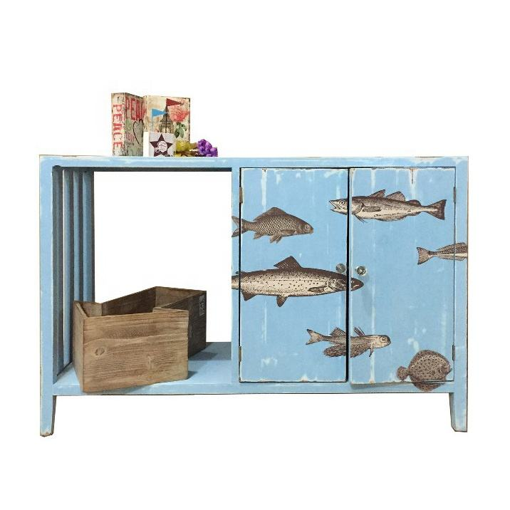 high quality Coastal Distressed Fish Printing TV Stand Wooden Living Room Cabinet tropical style living room cabinet