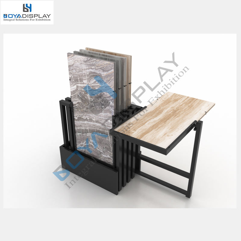 Latest stone type sliding rotating display stand flooring panels push pull tile display rack stand