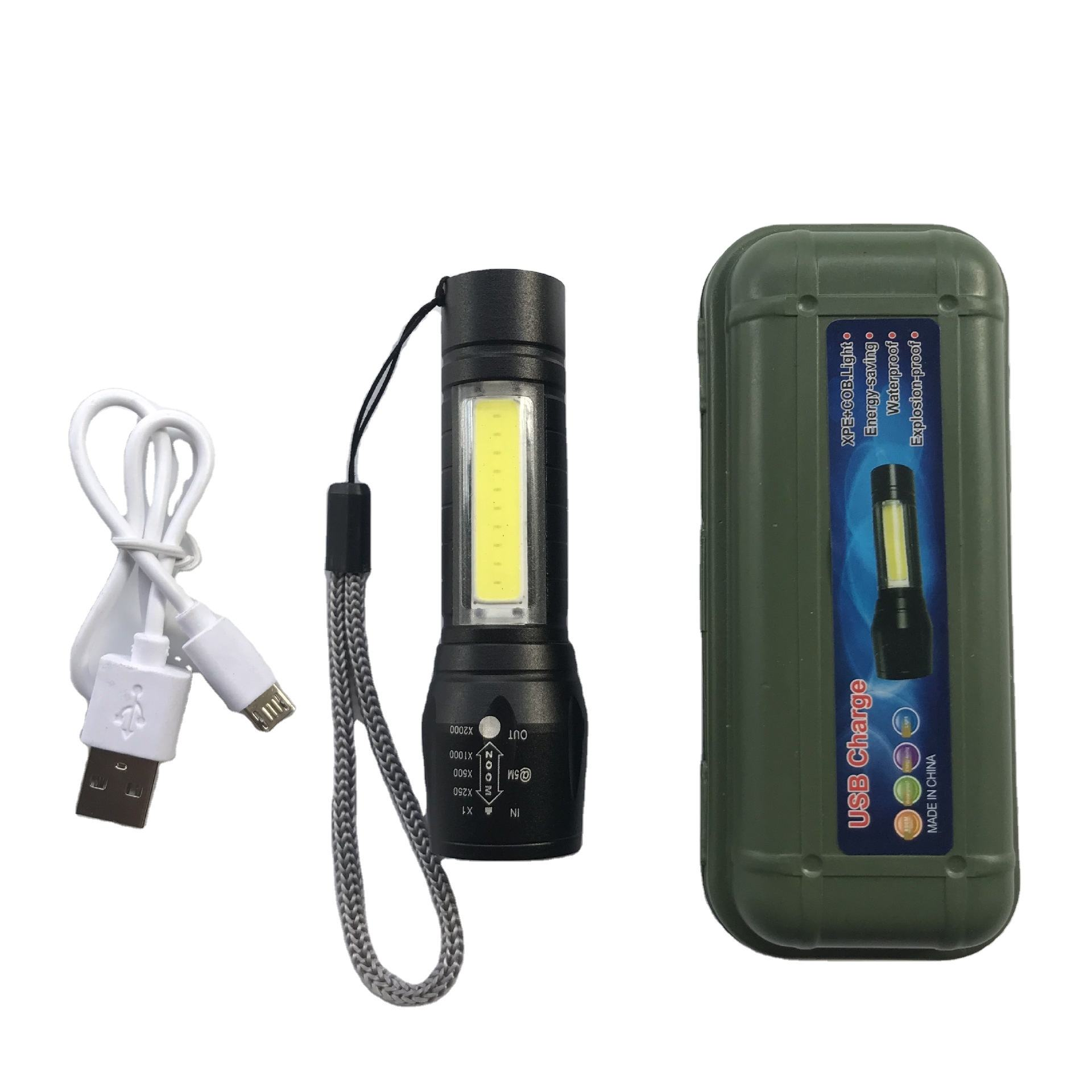 3w led mini flashlight usb charging led flash lights cob torch lighting for gift promotion