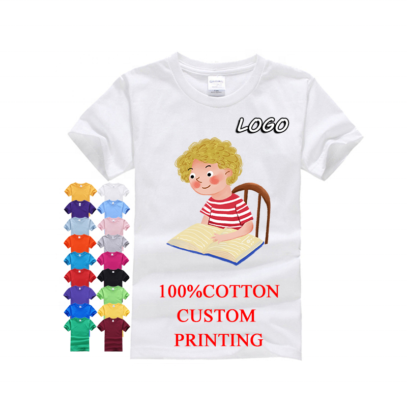 Custom logo printing Round neck Unisex 100% cotton plain blank white kids Boy T shirt