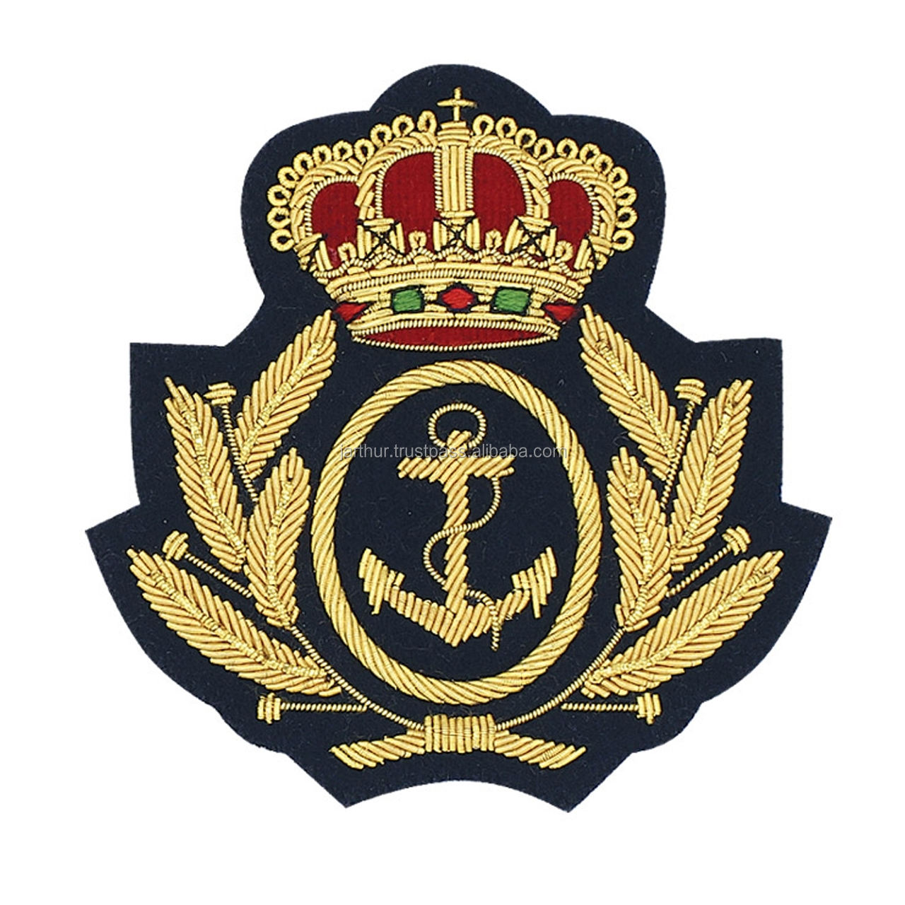 ROYAL NAVY ARMY BADGE WITH KINGS CROWN Hand embroidery badge /Navy Gold bullion badge