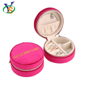 Mall Professional Ring Shape Zipped Jewelry Jewellery Case Luxury Crystal Red Colour Velvet Round Gem Box