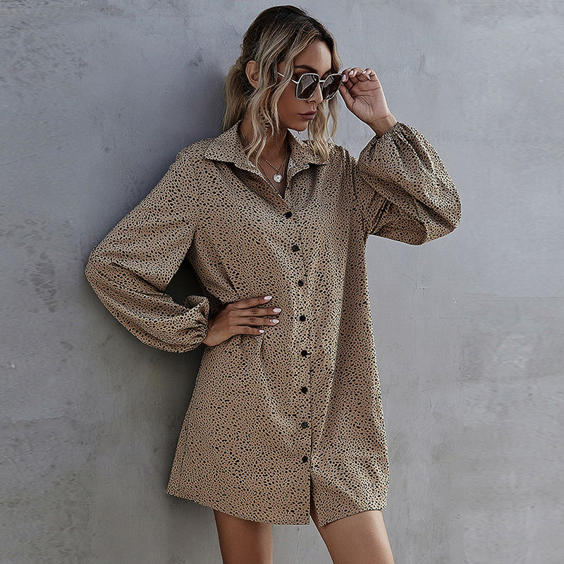 Fashion European And American Amazon Hot Selling New Casual Women's Dress With Lantern Sleeve