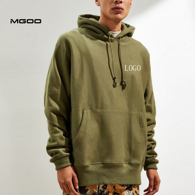 MGOO Streetwear Wide Ribbing Hem Customised Patched Cotton Army Green Fleece Hoodies Pullover