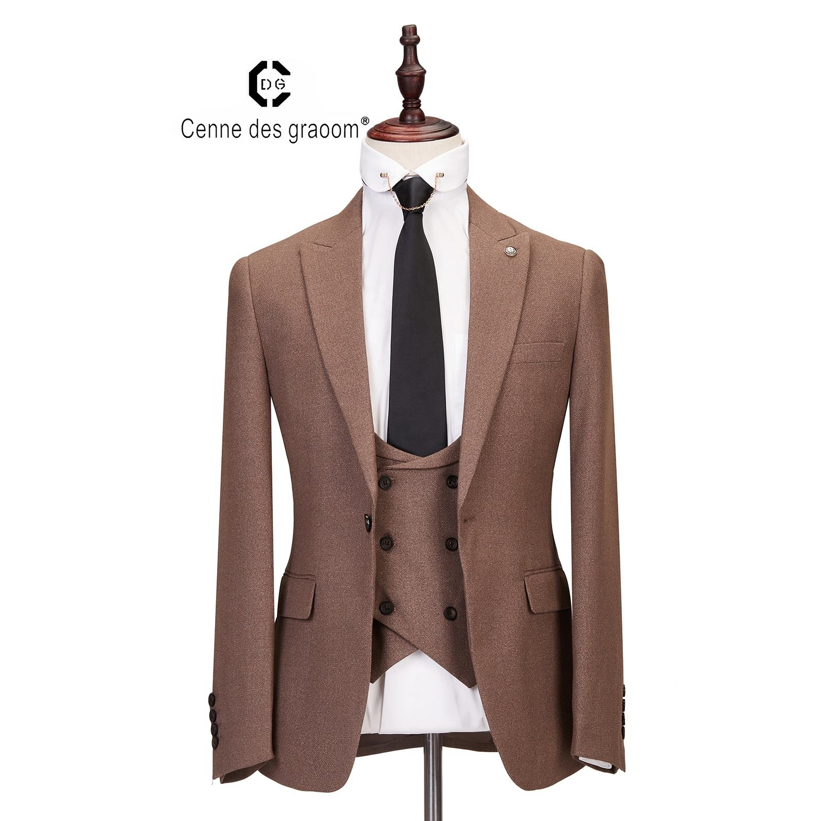 Mens Suits 3 Piece Slim Fit Wedding coffee Business Dinner Suit for Men Cenne des graoom Lapel Blazer Waistcoat Trousers