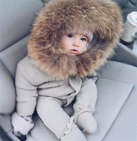 Luxury Baby Knitted Racoon Fur Collar Jumpsuits Hooded Baby Girl Clothes Winter Bebes Rompers Boys Girls Infant Onesie Vintage
