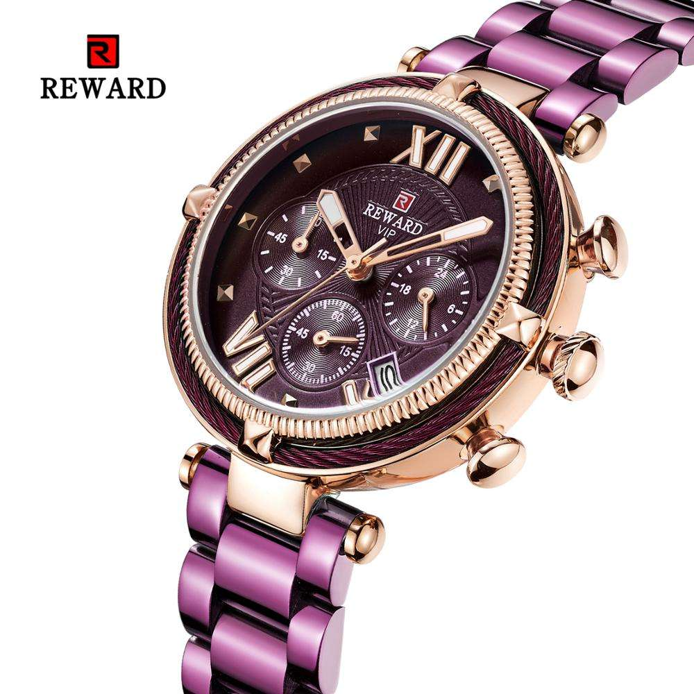 Water Proof Steel Band Chronograph Function Women Size Ladies Fancy Wrist Watches