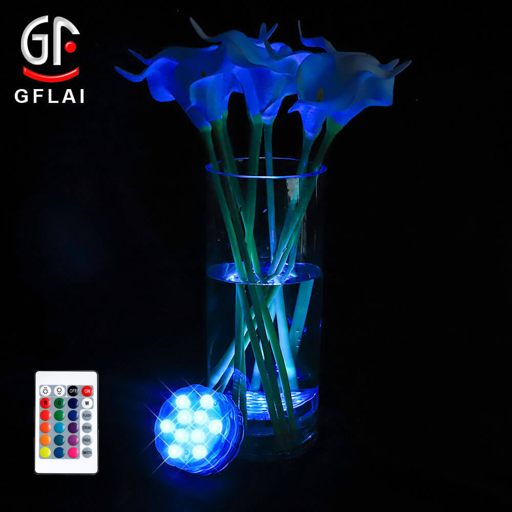Waterproof Battery Operated Underwater Wedding Floral Wireless Aquarium Pool Submersible Led Lights For Home With Remote
