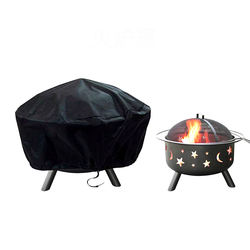 Fire Pit Cover Heavy Duty Waterproof Dustproof Outdoor Round Grill BBQ Cover with Drawstring