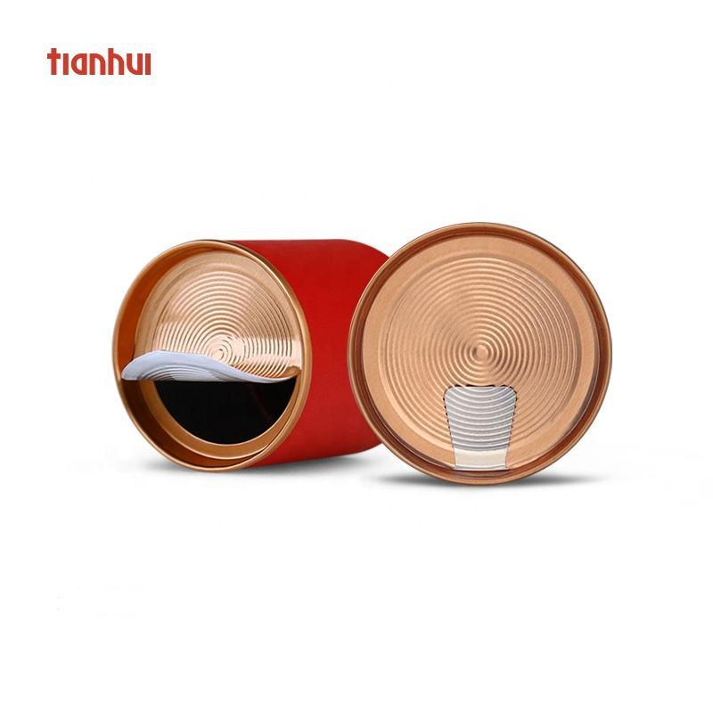 Original Design Tea packaging Small Paper Cans with Easy Peel off lid