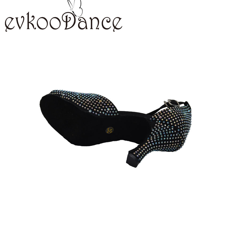 One-Stop Service Evkoodance Shoes Women Satin Rhinestones Ballroom Dance Shoes Black Latin Salsa Sexy Ladies Dancing Shoes With Factory Price