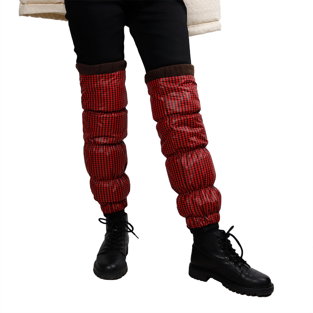 factory supply red and black leg warmers adult winter 2021 fashion down leg warmers