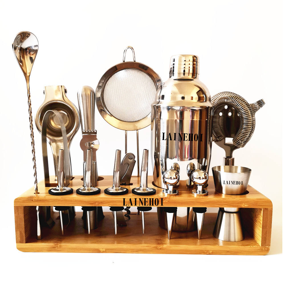 High Quality Custom Logo Mixology Stainless Steel Bar tools set Bartender set Cocktail Shaker kit bamboo stand