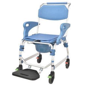 aluminum commode chair folding commode shower commode wheel chair with armrest for elder and disable