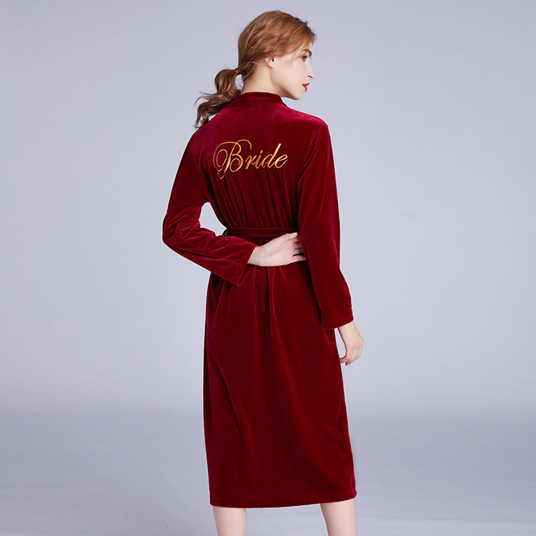 High Quality Super Plush Red Velvet Long Gown Make Up Robe Nightwear Letter Print Kimono For Women Sexy