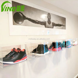 Customized sneaker clear box wall mounted box and shoe showcase clear showcase template transparent plastic display box