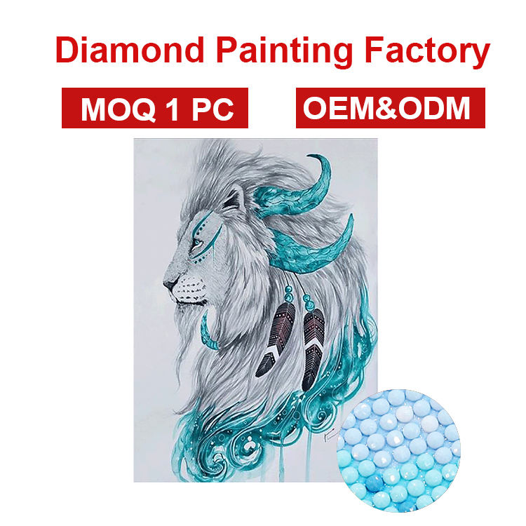 Factory cheap Wholesale New 5d Diamond painting Indian totem lion pattern art wall painting set for home decoration