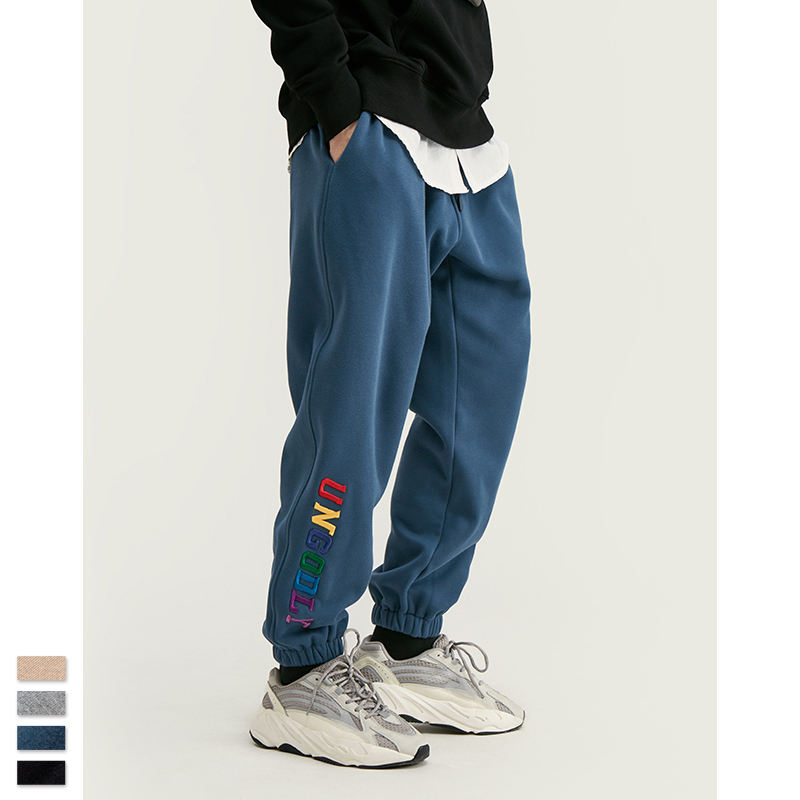 Letter Embroidery Track Pants Men Hip Hop Loose Fit Mens Joggers Pants 2019 Fashion Winter Harem Pants Men