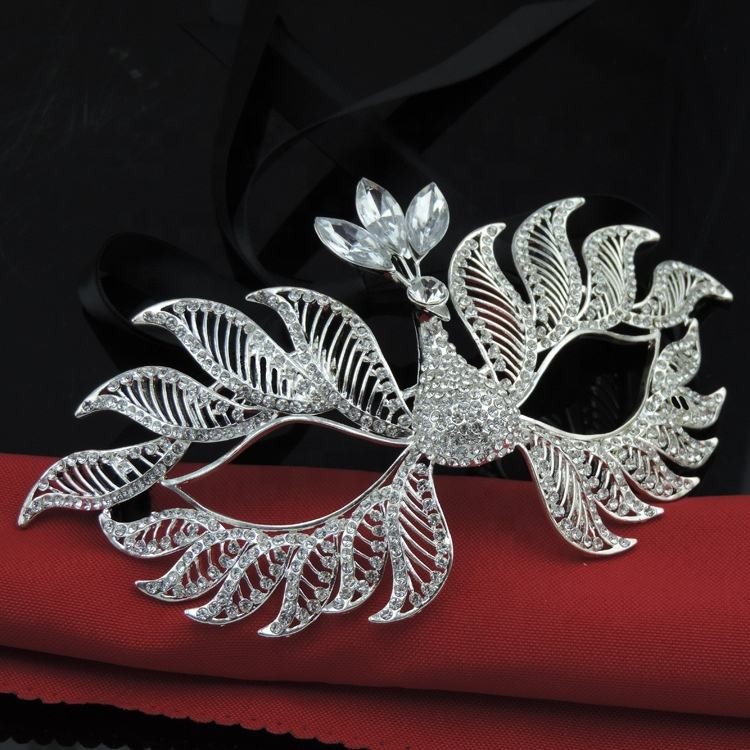 High quality Fashion sexy Metal Masquerade mask with crystal for Costume party