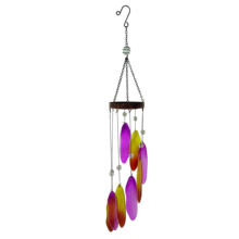 Liffy  Colorful Garden Metal With Leaves Design Glass Pieces Wind Chime Hanging