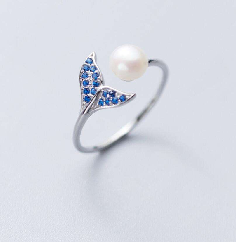 SR104-327 Halo girls' 925 sterling silver adjustable lovely blue stone pearl fish tail ring