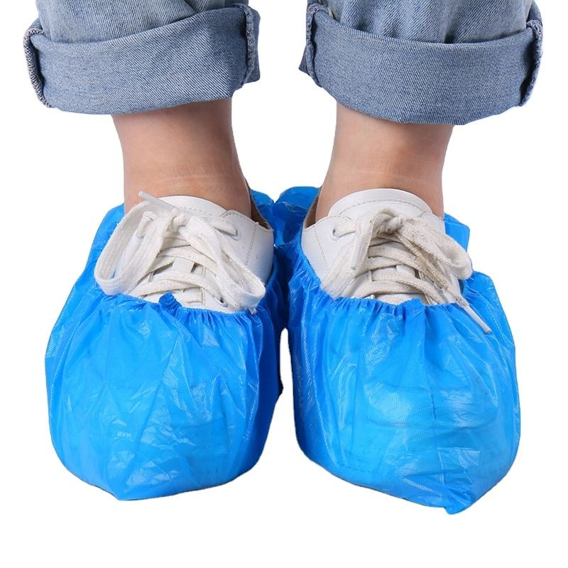 2020 china disposable medical shoe covers non woven shoe cover slip resistant disposable PE shoe covers