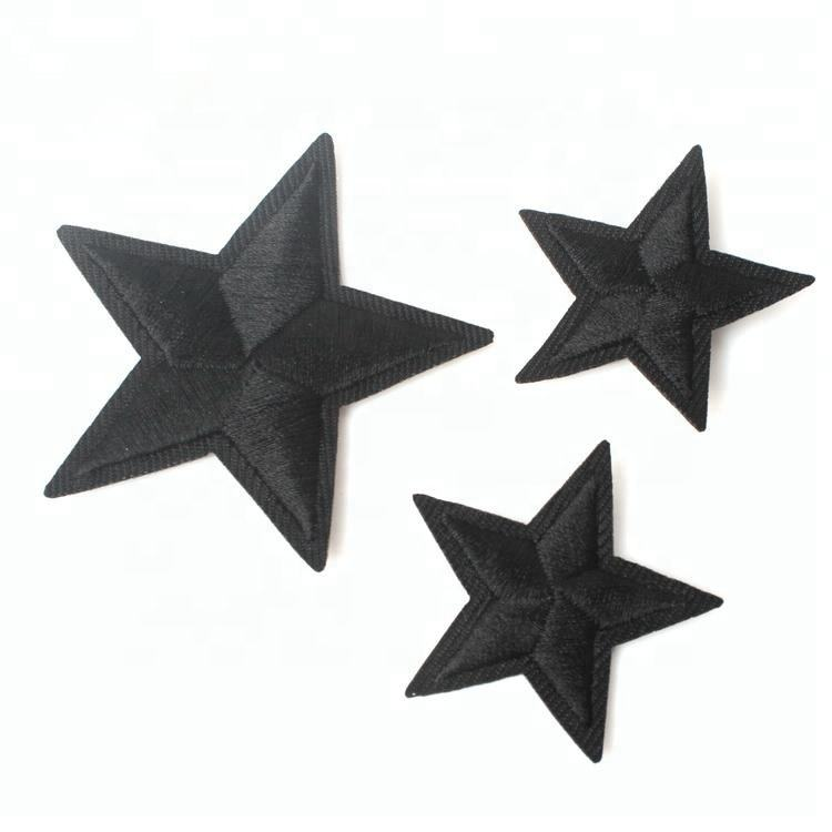 Labels Maker Custom Size Laser Cut 3D Black White Color Machine Embroidered Star Patches for Garment