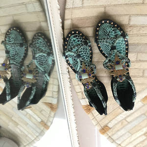 Fantastic Blue Snake Unique Plate Sandals Women Flat Ladies Shoes