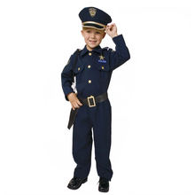 Promotional customized carnival children police costume handsome boy's favorite police costume with white custom t-shirt