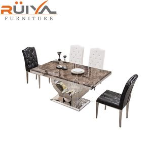 factory high quality modern dining table set 6 chairs dining room marble top dining tables