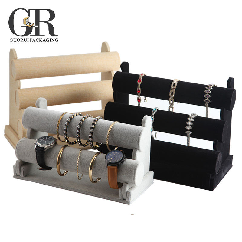 Guorui Jóias bangle bracelet watch mostrar pu couro jóias display rack stand titular