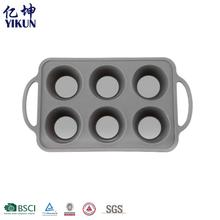 Portable High Quality Heat Resistance Bakeware 6 Cupcake Pan Silicone Cake Mold