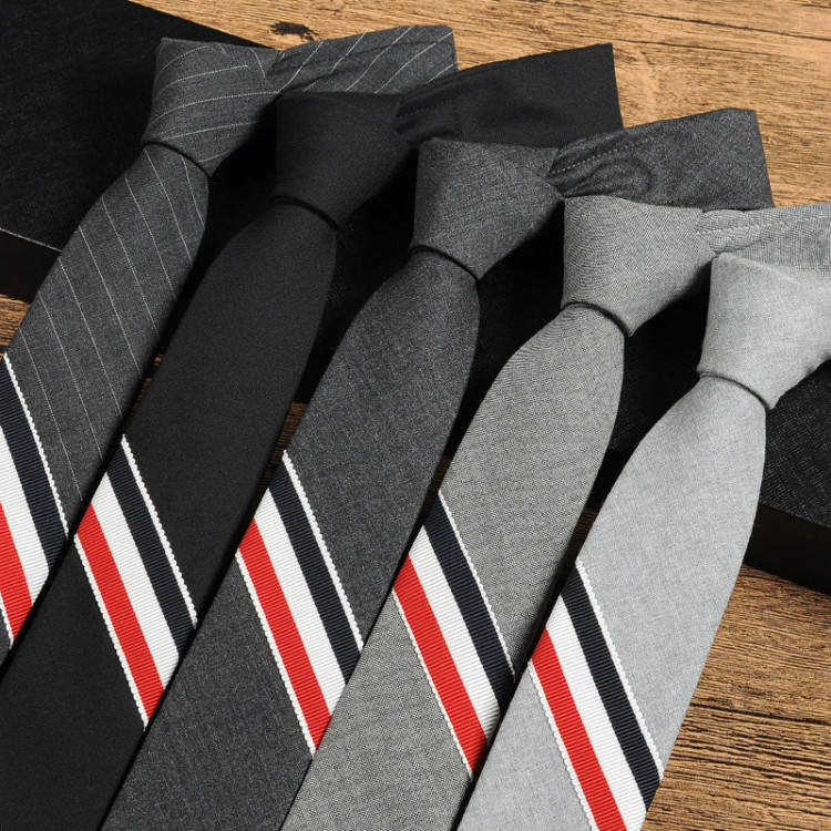 England style three-colors red white black striped 5cm gray woolen necktie men's business suits plaid skinny tie