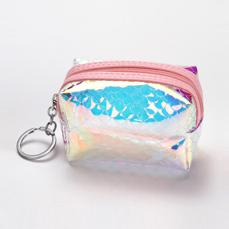 2019 hot selling laser magic fish scales zipper purse transparent TPU eco-friendly bag coin purse for girls