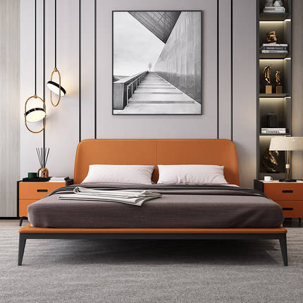 Italian double bedroom leather bed wedding bed light luxury 1.8m leather bed master bedroom factory direct sale