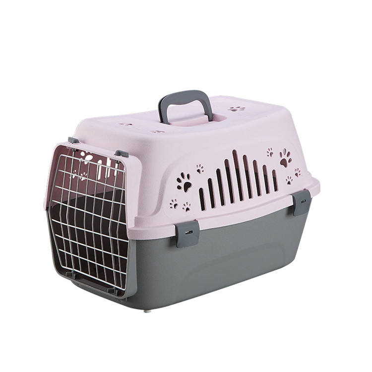 Solid color small portable plastic air transport case breathable comfortable pet flight case pet cage
