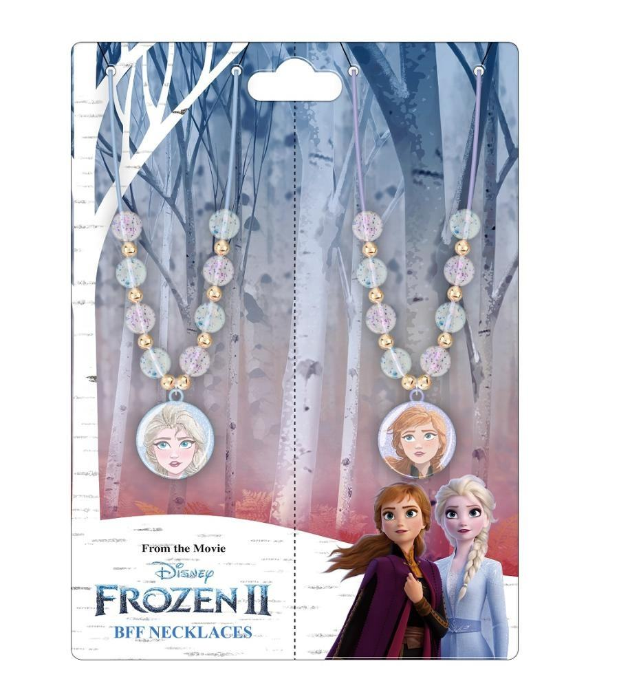 F&J 2020 New Fashion Frozen Princess Children Necklace Jewelry Sets Anna Elsa Design Plastic Pendant Necklace 2 in 1 Opp Gag