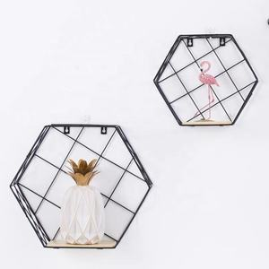 Ins Simple Metal Wire hexagonal decorative wall decor design storage racks living room creative wall shelf/hexagon shelf