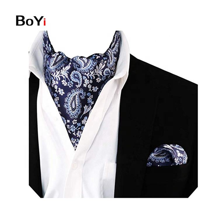 Custom Fashion Cheap Stylish Mans Paisley Stripe Solid Design Neck Cravat Ascot Polyester necktie tie For Men Wedding
