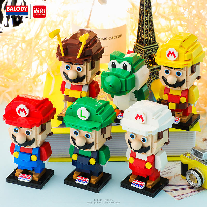 Micro Legoing 3D Figure Mario For Children DIY Assembly Mini Building Bricks Blocks Toy