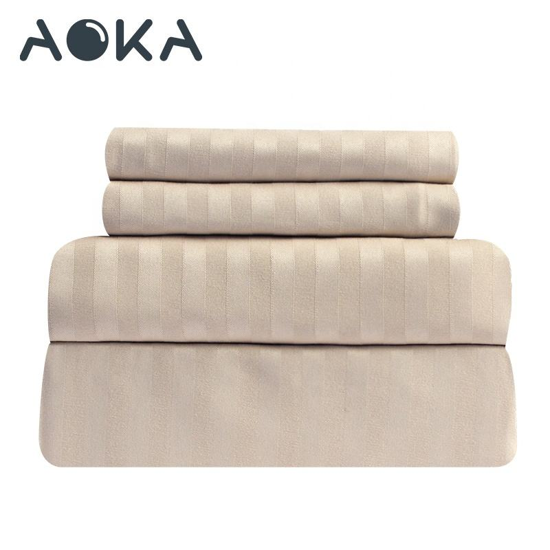 AOKA USA Full Size Stripe Sheet Set Bed Brushed 1800tc 3 Piece Bed Sheet Sets Microfibre Bed Sheet Set 4 Piece