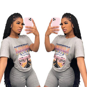 Wholesale Stock Relaxed Tee Shirt Shorts Set Printed Brand Women 2XL Big Size Grey Sports T-Shirt