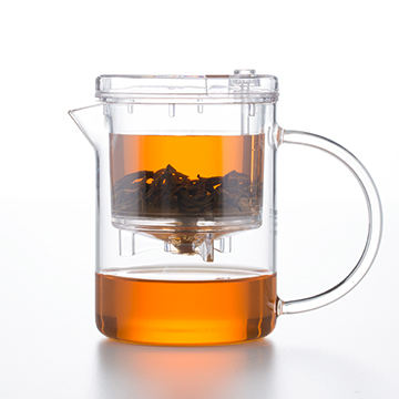 Samadoyo Transparent Clear Glass Tea Pots/Teacups with Filter and Press Button for Making Tea on Hot Sale